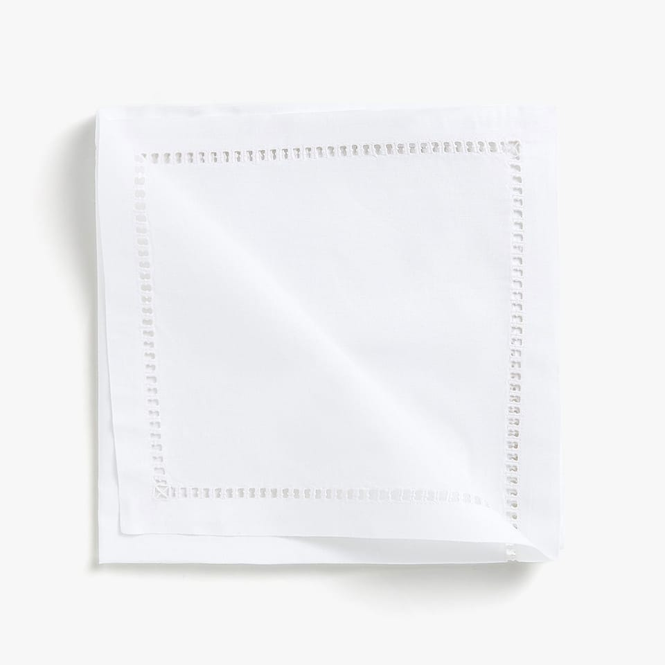HEMSTITCHED RAMIE AND COTTON NAPKINS (SET OF 4)