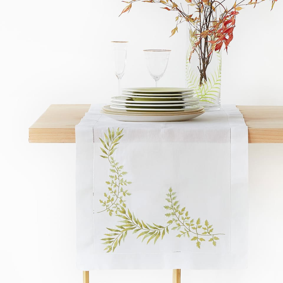 RAMIE AND COTTON TABLE RUNNER WITH EMBROIDERED LEAVES