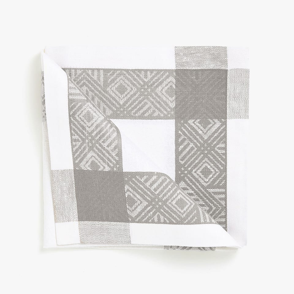LINEN AND COTTON JACQUARD NAPKINS WITH GREY BORDER (SET OF 4)