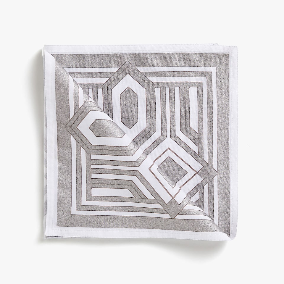 METALLIC HONEYCOMB PRINT COTTON NAPKINS (SET OF 4)