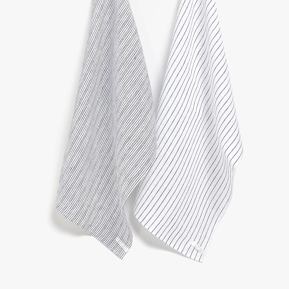 FADED STRIPED LINEN TEA TOWEL (SET OF 2)