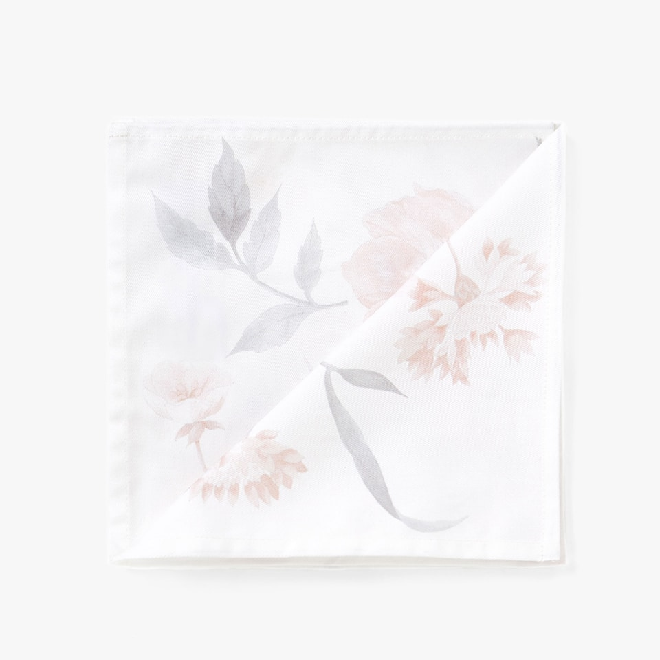 FLOWER AND LEAF DIGITAL PRINT COTTON NAPKINS (SET OF 4)