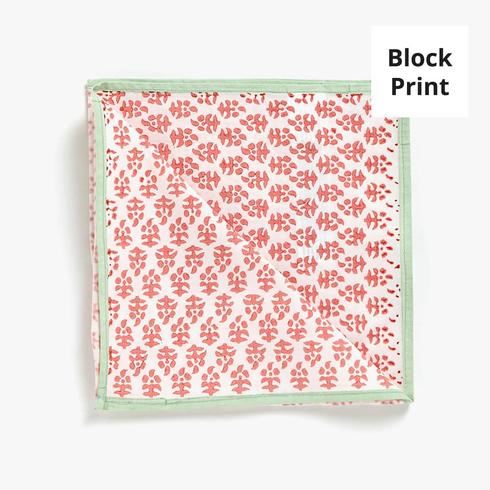 FLORAL PRINT COTTON NAPKINS WITH BORDER (SET OF 4)