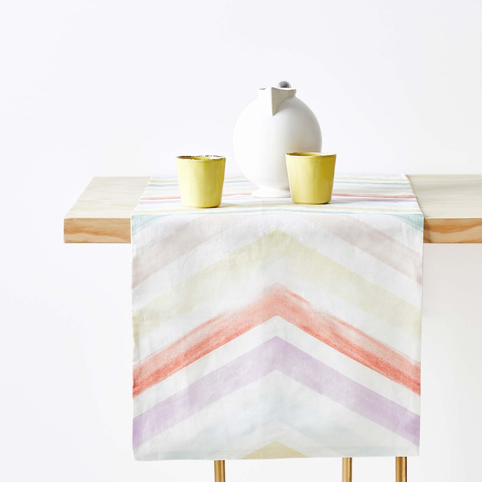 MULTICOLOURED STRIPED DIGITAL PRINT LINEN TABLE RUNNER
