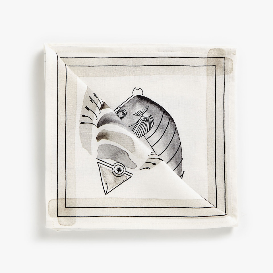 FISH DIGITAL PRINT COTTON NAPKINS (SET OF 4)