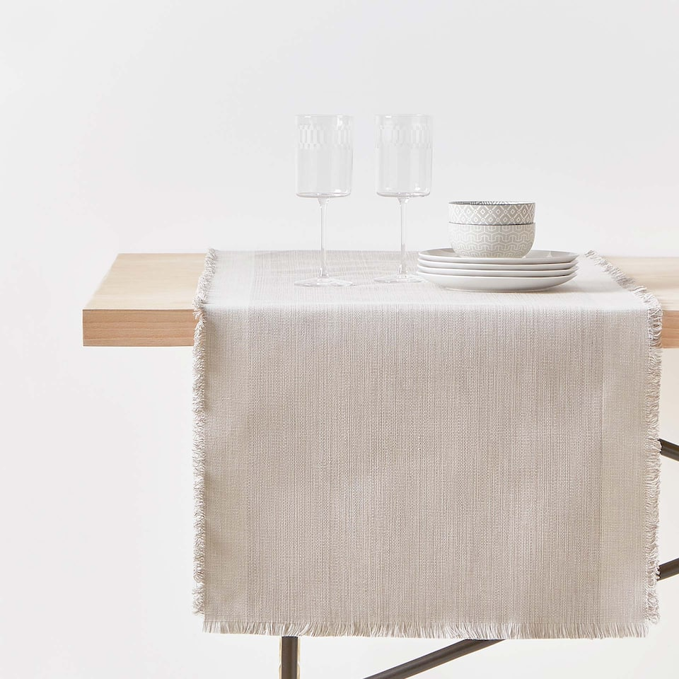 FRAYED COTTON TABLE RUNNER