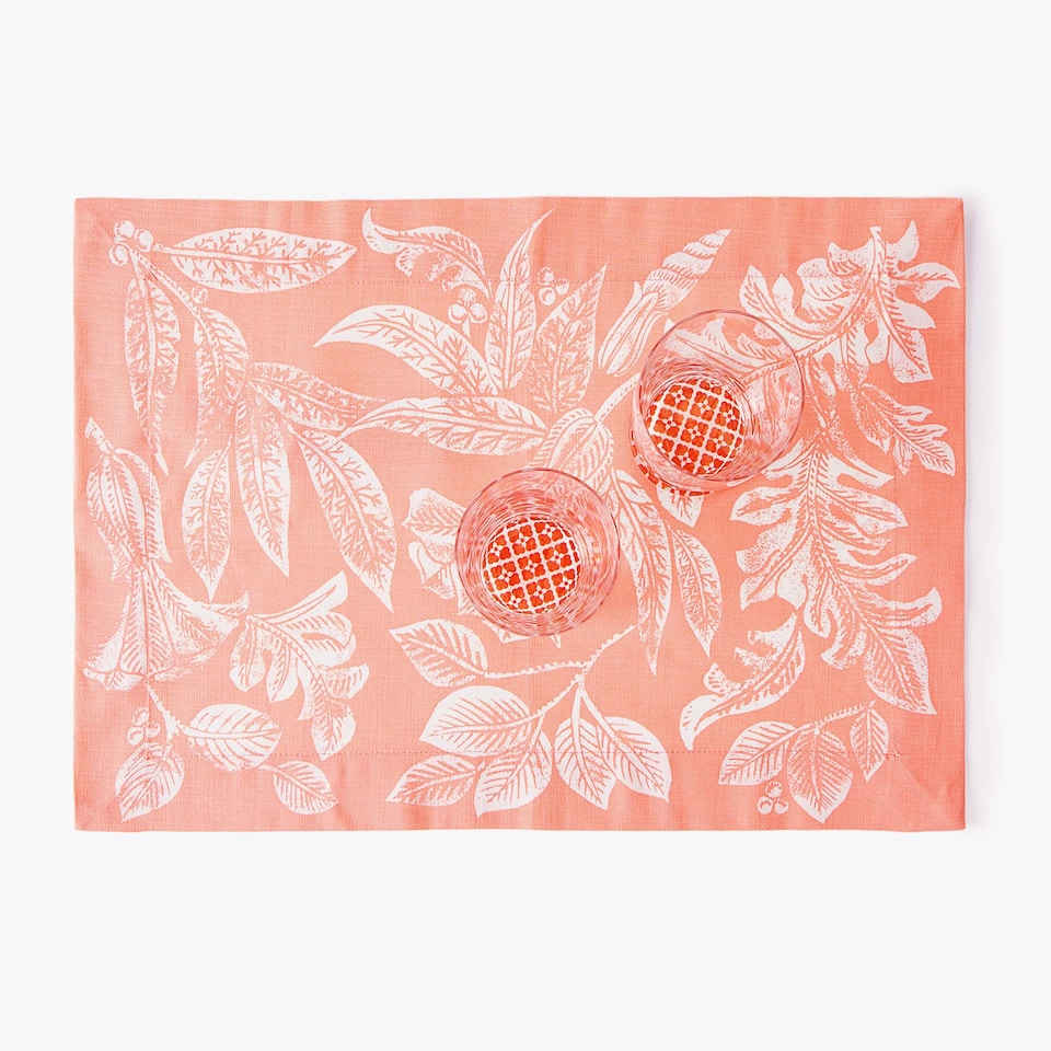 MONOCHROME PRINTED COTTON PLACEMAT (SET OF 2)