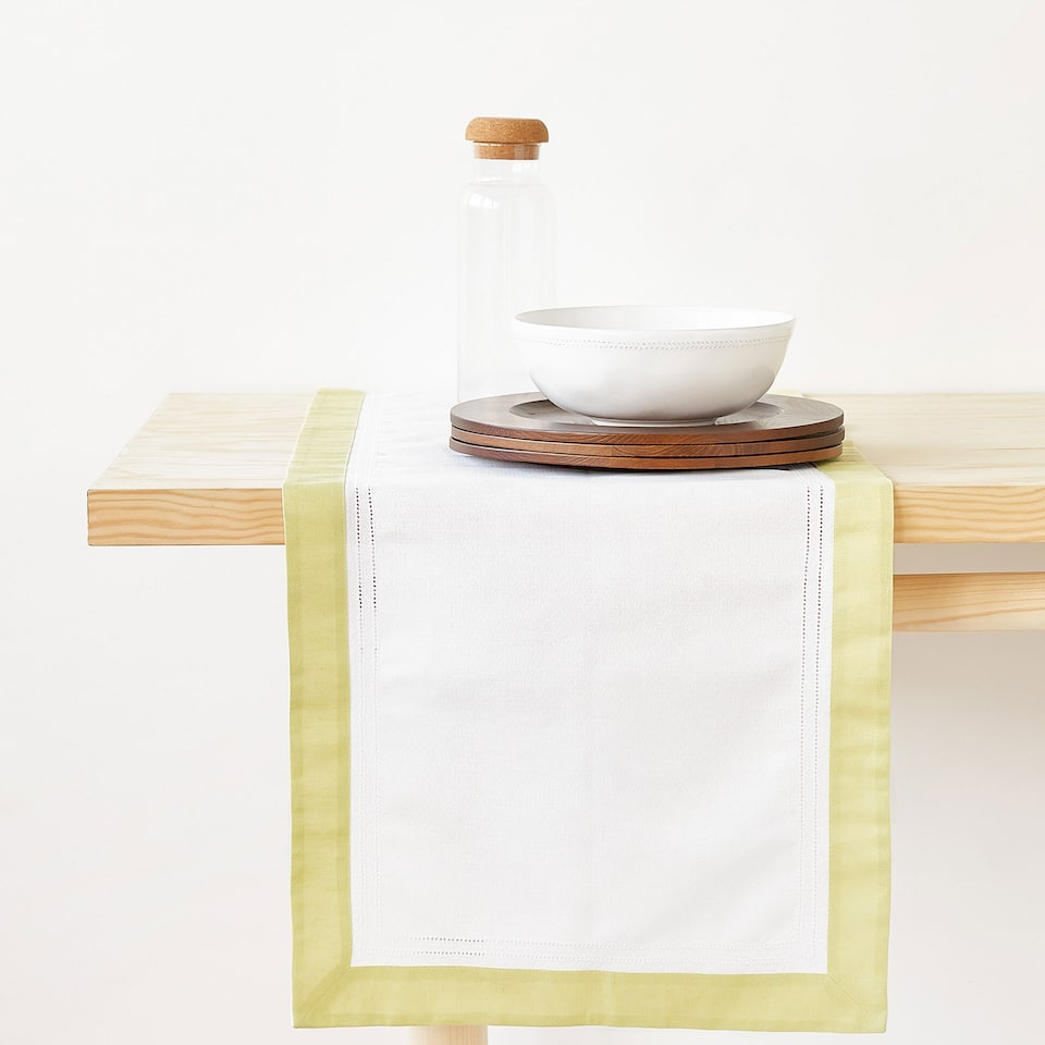 LINEN AND COTTON DOUBLE HEMSTITCHED TABLE RUNNER