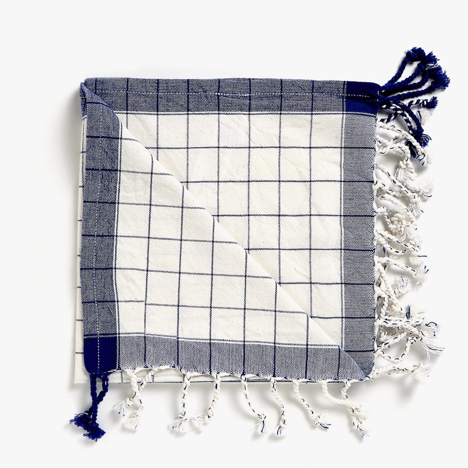 CHECKED COTTON NAPKINS WITH FRINGE (SET OF 4)