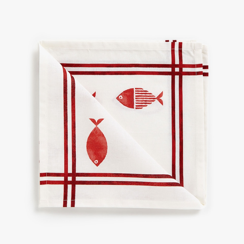 CONTRASTING PRINT COTTON NAPKINS (SET OF 4)