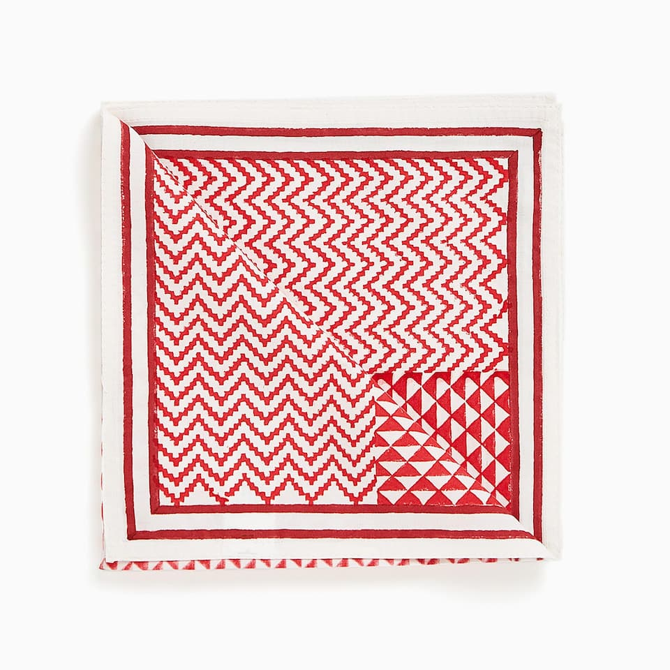 PATCHWORK-EFFECT PRINT COTTON NAPKINS (SET OF 4)