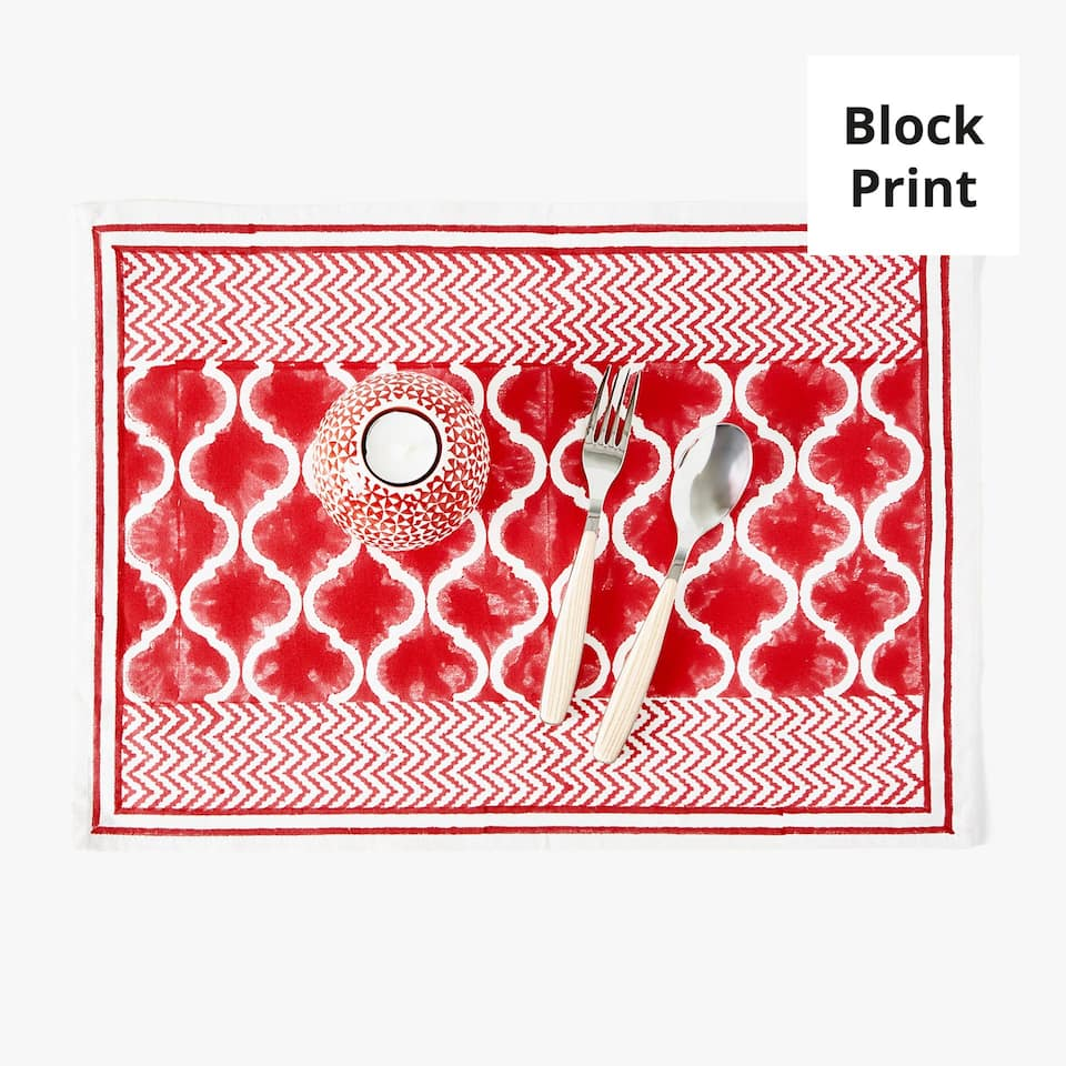 GEOMETRIC PRINT COTTON PLACEMAT (SET OF 2)