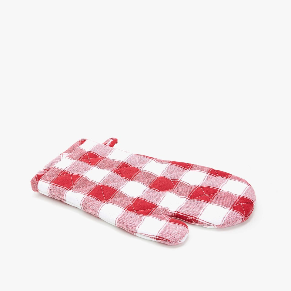 CHECKED COTTON OVEN MITT