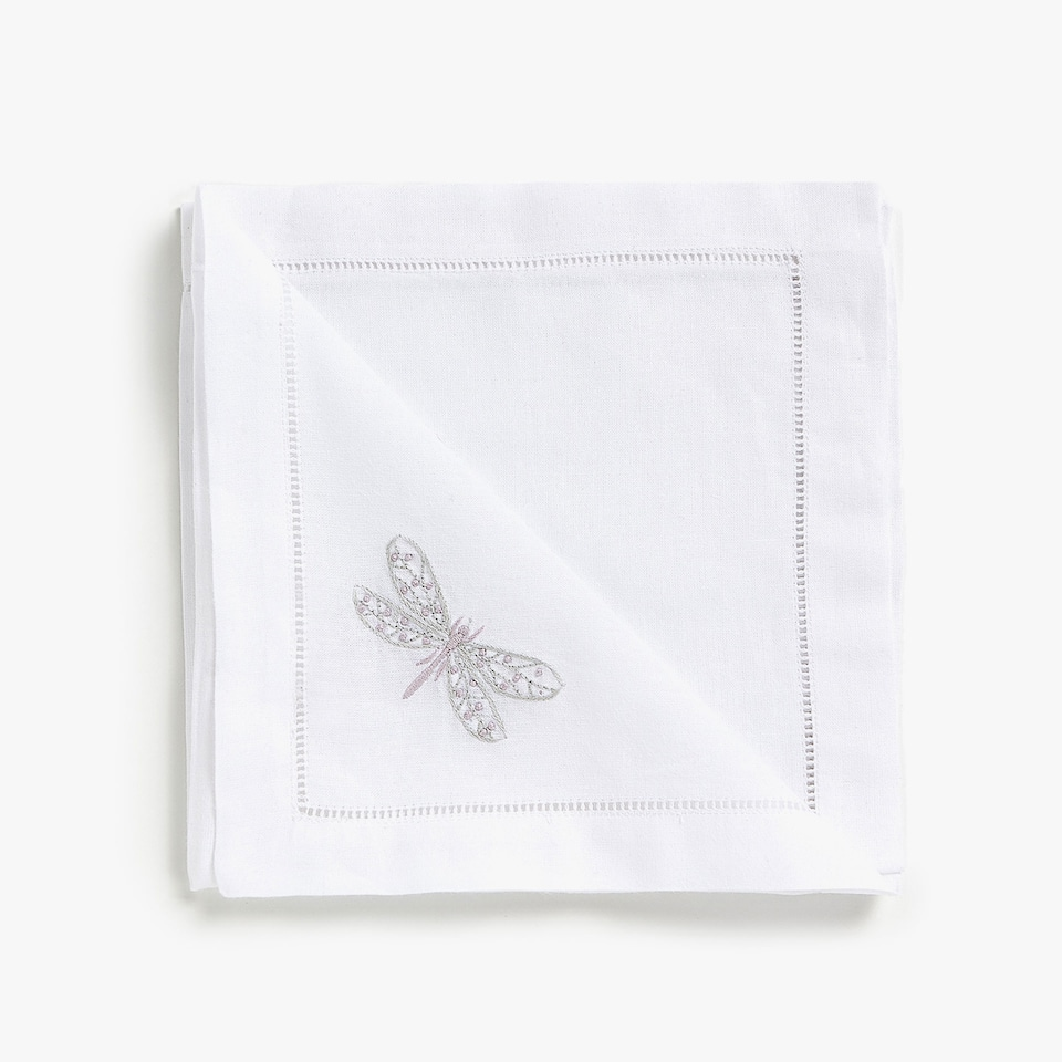 DRAGONFLY EMBROIDERY NAPKINS (SET OF 4)