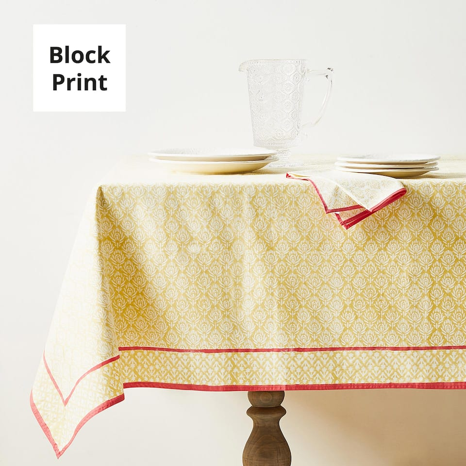 FLORAL PRINT COTTON TABLECLOTH WITH BORDER