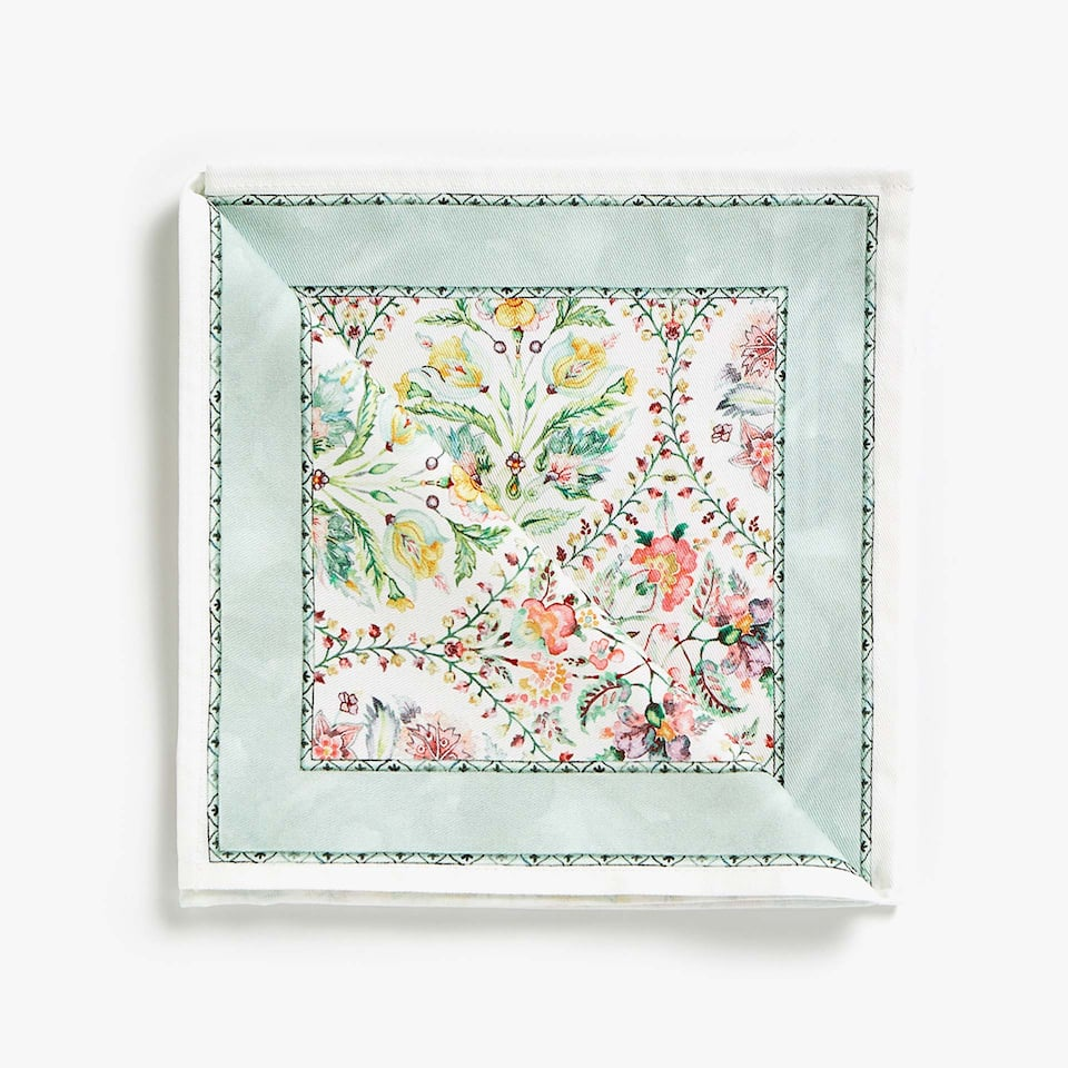 MULTICOLOURED FLORAL PRINT COTTON NAPKINS (SET OF 4)