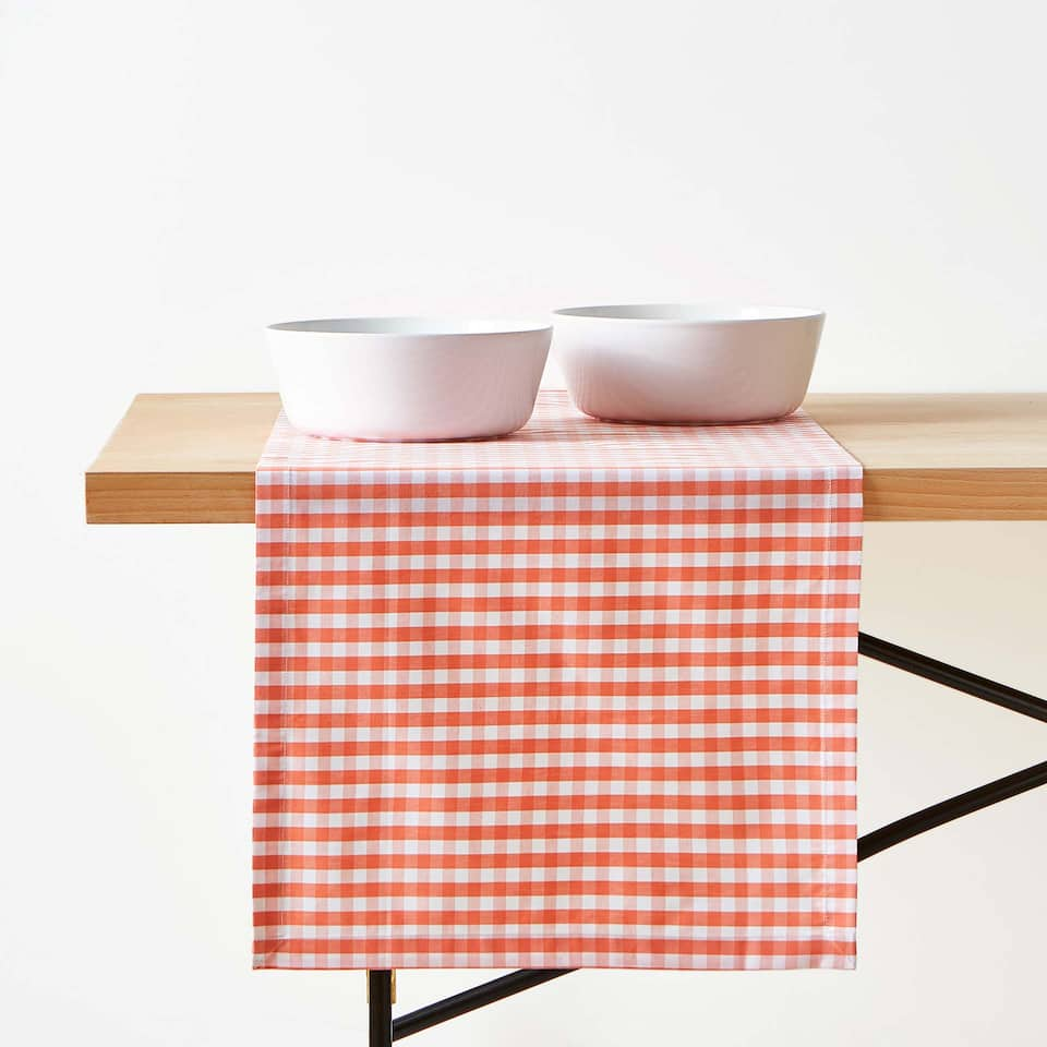 GINGHAM CHECK COTTON TABLE RUNNER