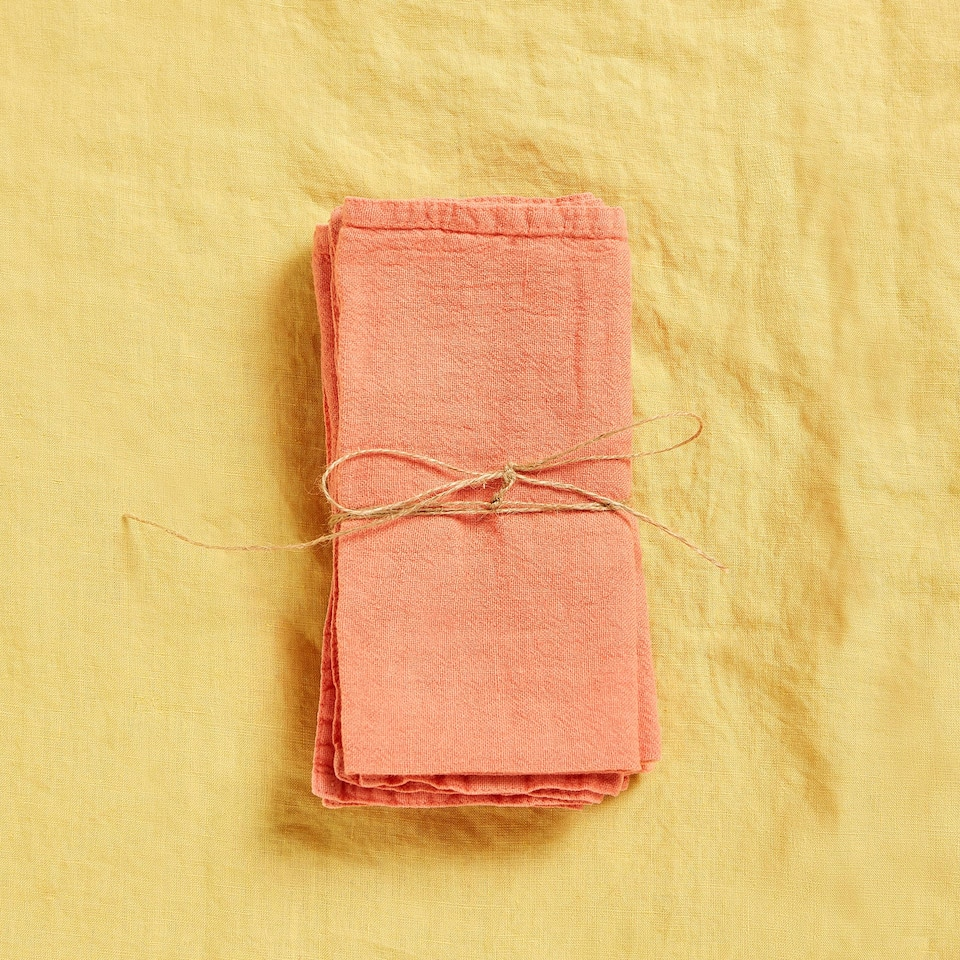 FADED LINEN NAPKINS WITH DOUBLE STITCHING (SET OF 4)
