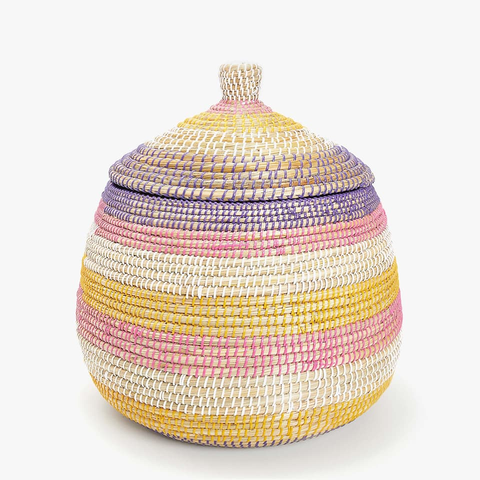 MULTICOLOURED PLAITED BASKET