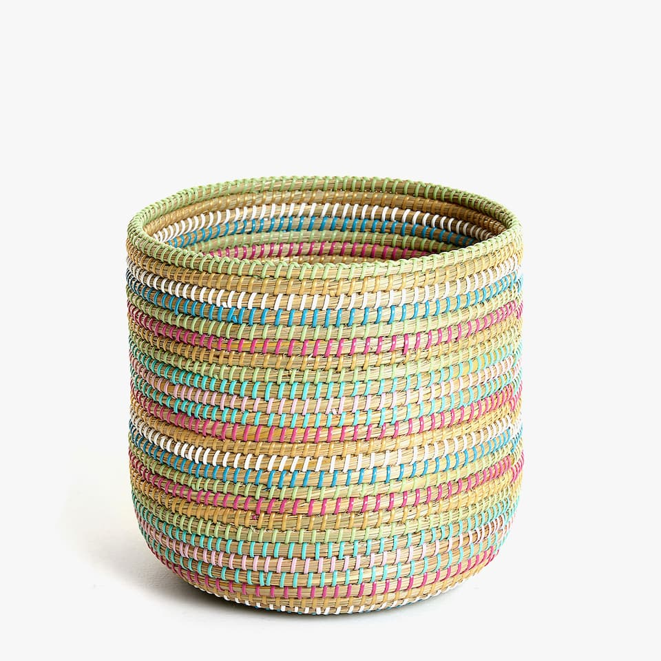 MULTICOLOURED PLAITED WASTEPAPER BASKET