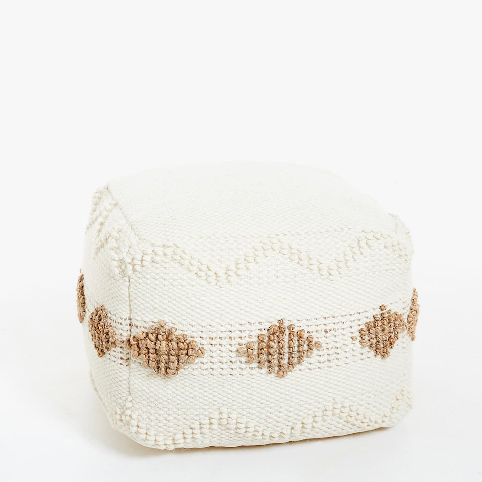 SQUARE POUFFE WITH RAISED DESIGN