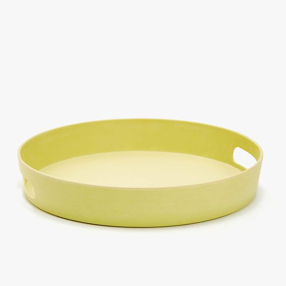 ROUND YELLOW TRAY WITH MATTE FINISH