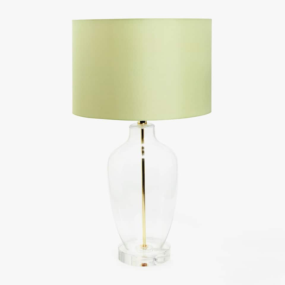 GLASS LAMP BASE WITH GREEN SHADE