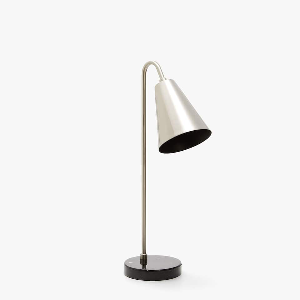 SILVER-TONED READING LAMP WITH BLACK MARBLE BASE