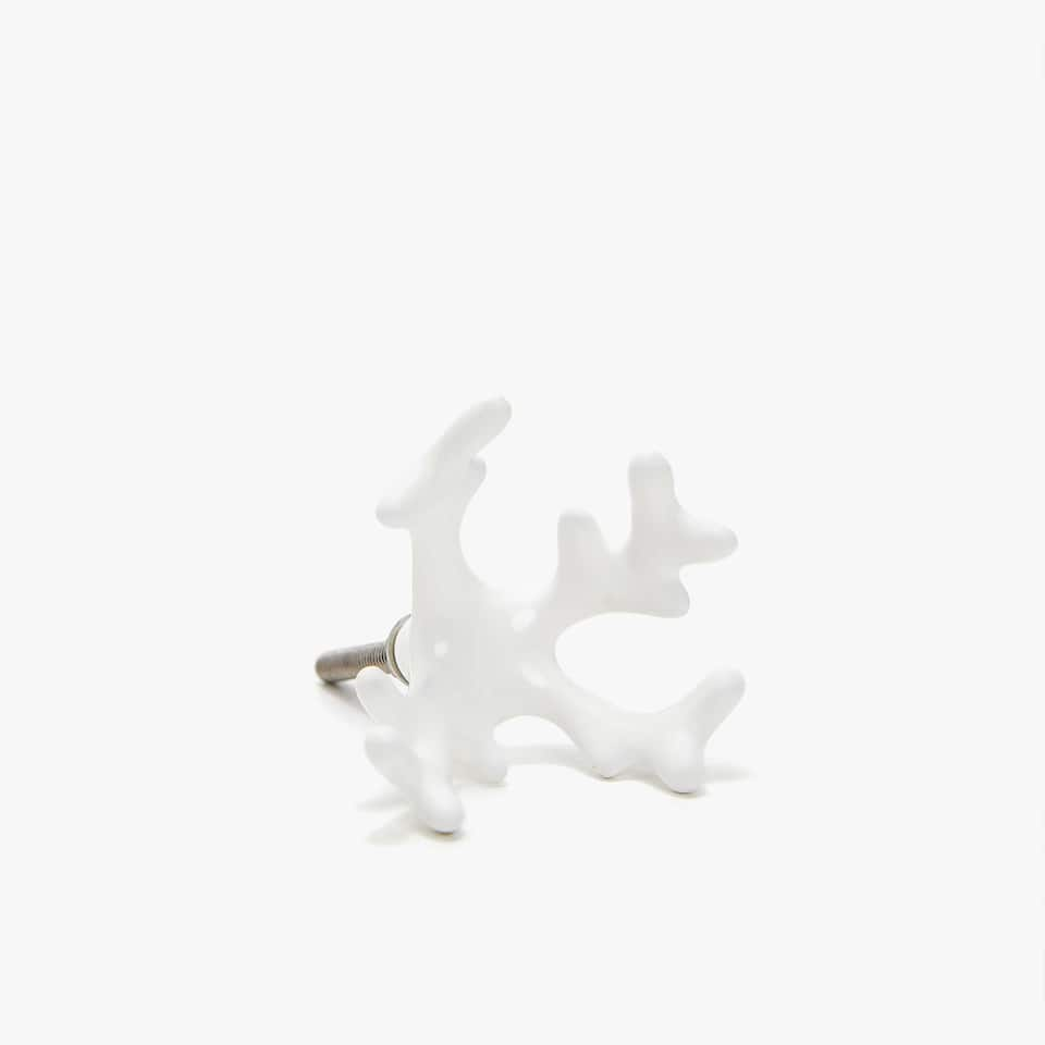 WHITE CORAL DOOR KNOB (SET OF 2)