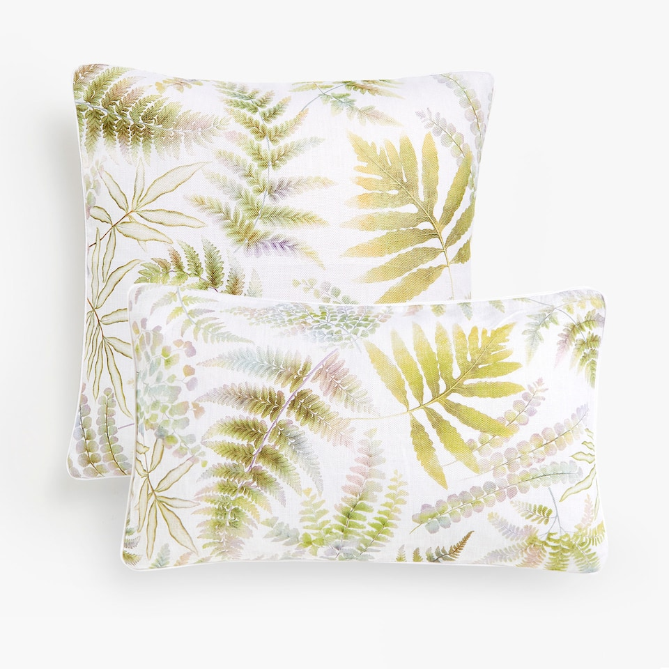 Fern print linen cushion cover