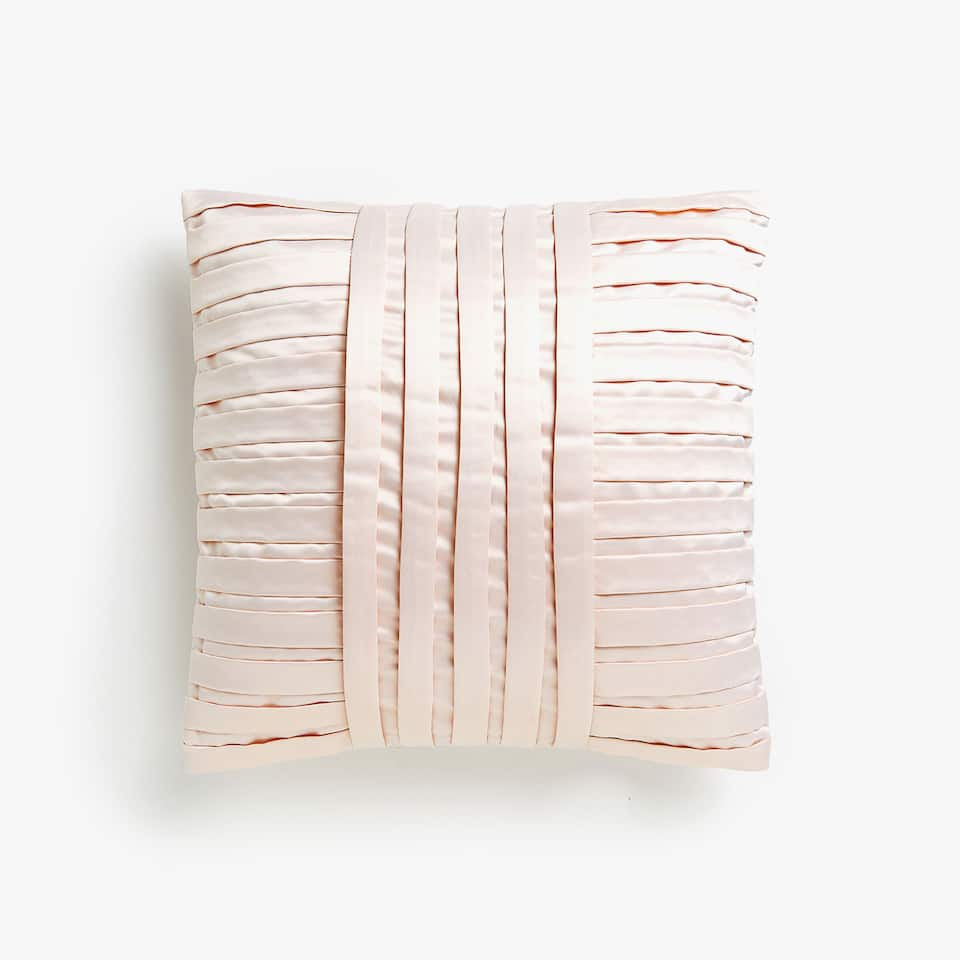 Pleated sateen cushion cover