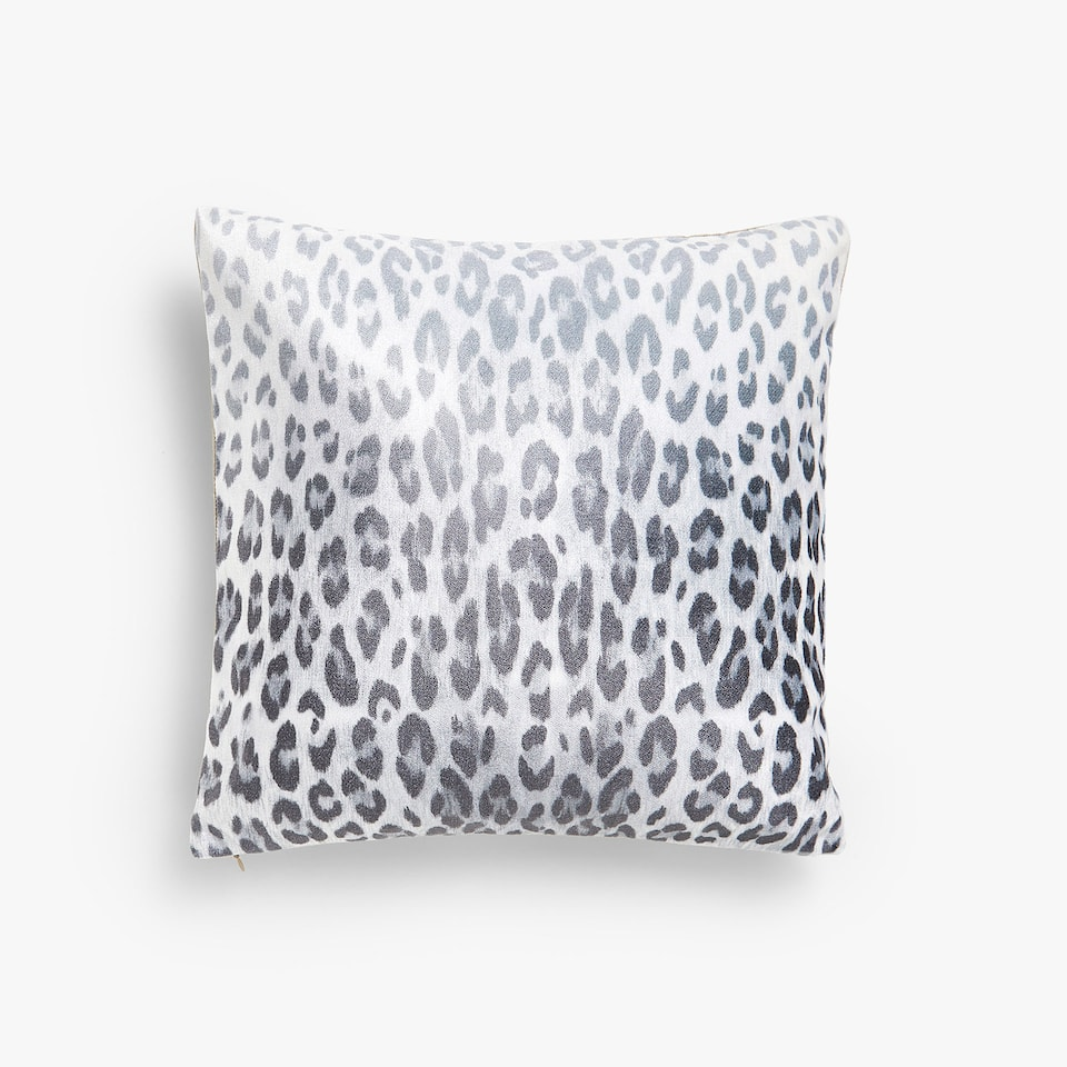 Leopard print linen cushion cover