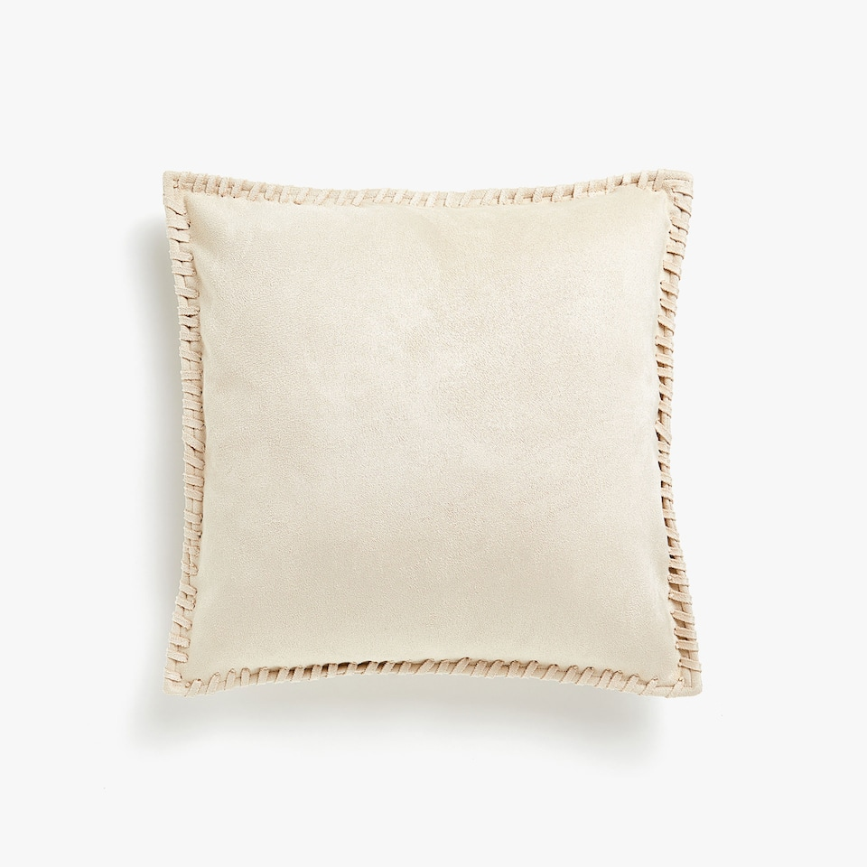 Faux suede cushion cover