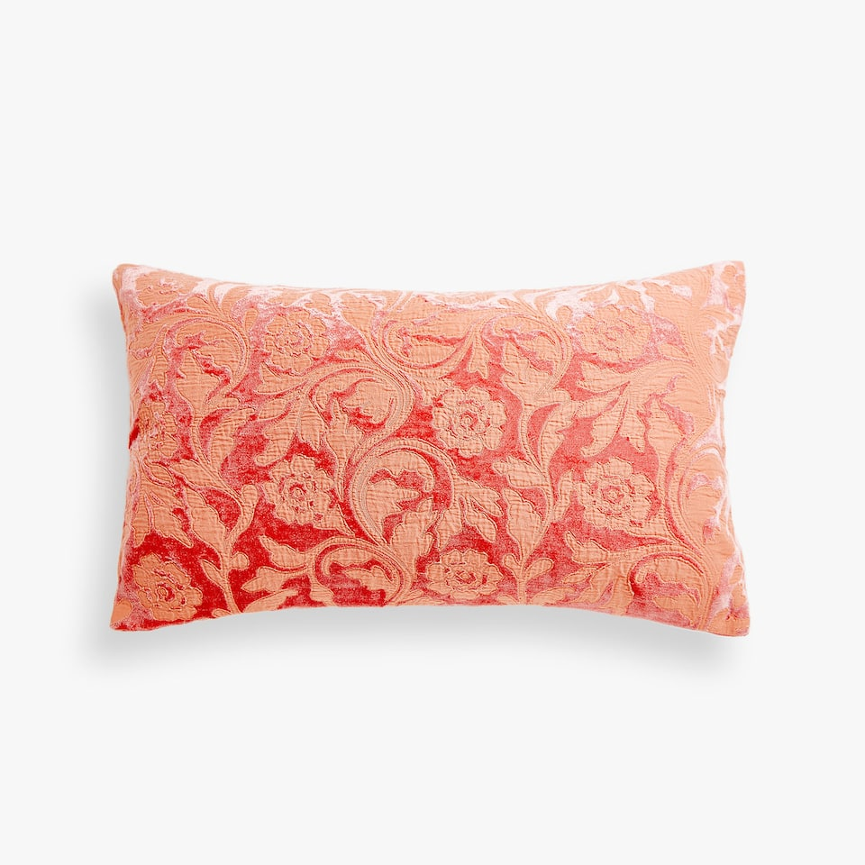Embroidered velvet cushion cover