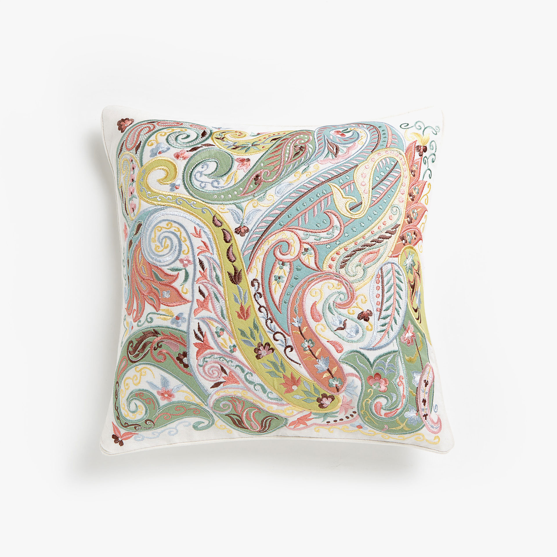 Paisley embroidered cushion cover