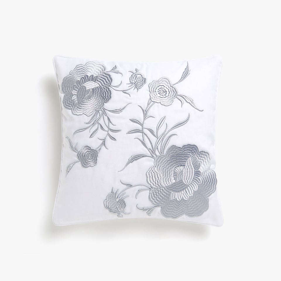 Floral embroidery cushion cover