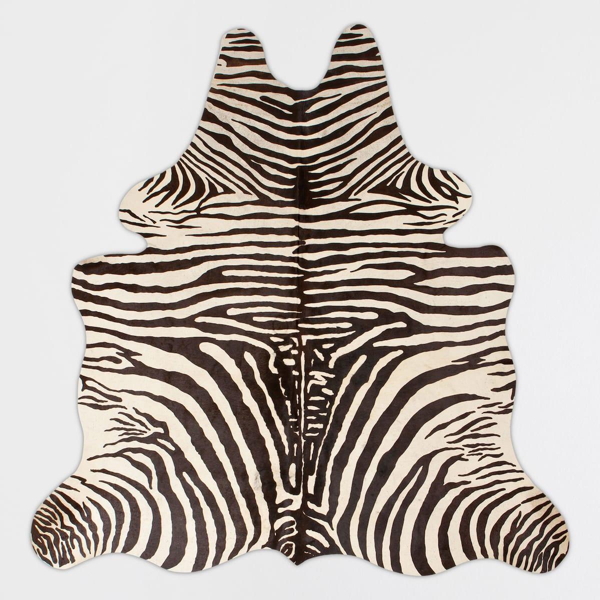 Zebra Printed Leather Rug