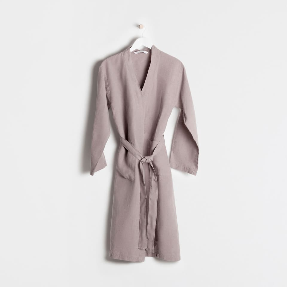 GREY LINEN BATHROBE
