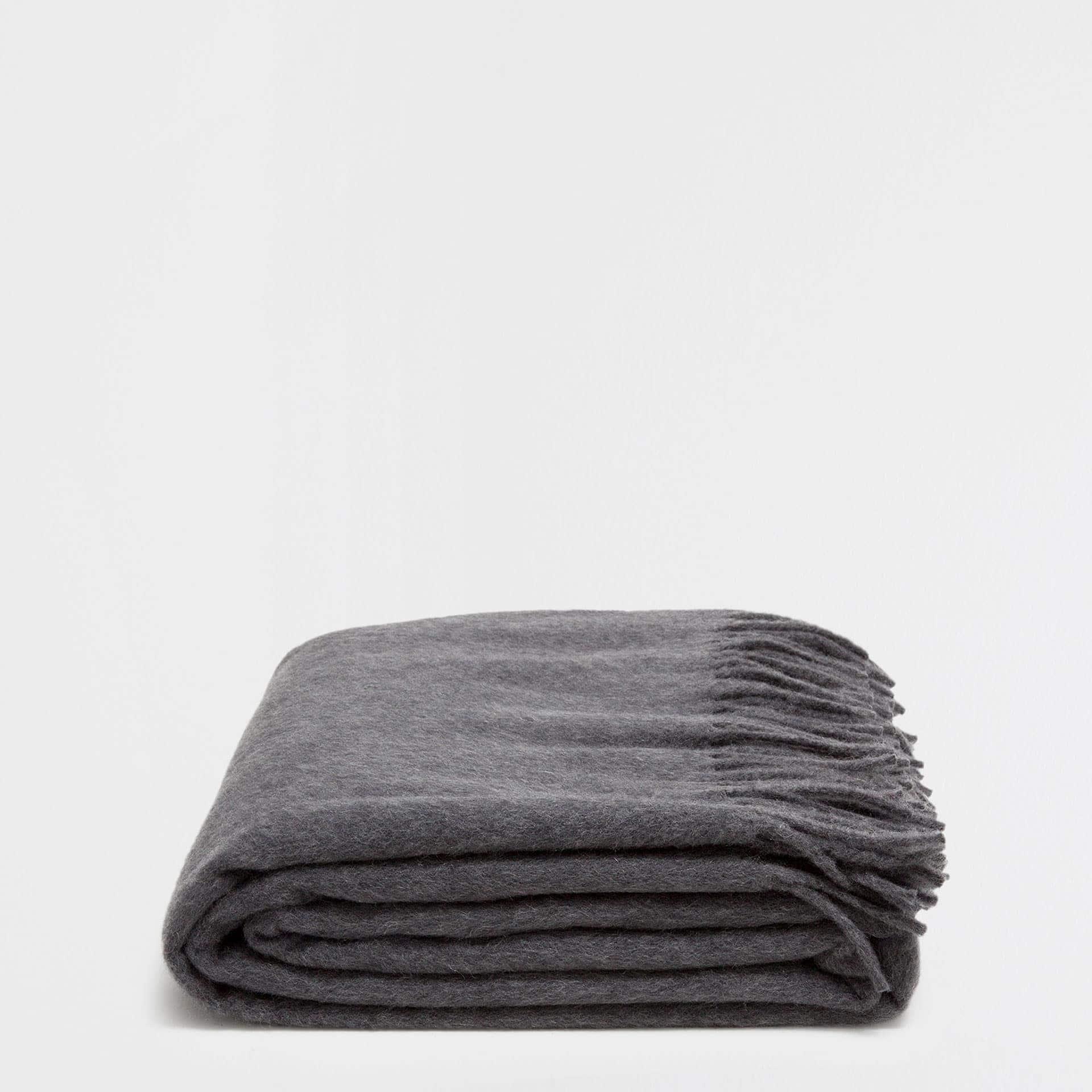 plain grey cashmere blanket with fringe - Cashmere Blanket