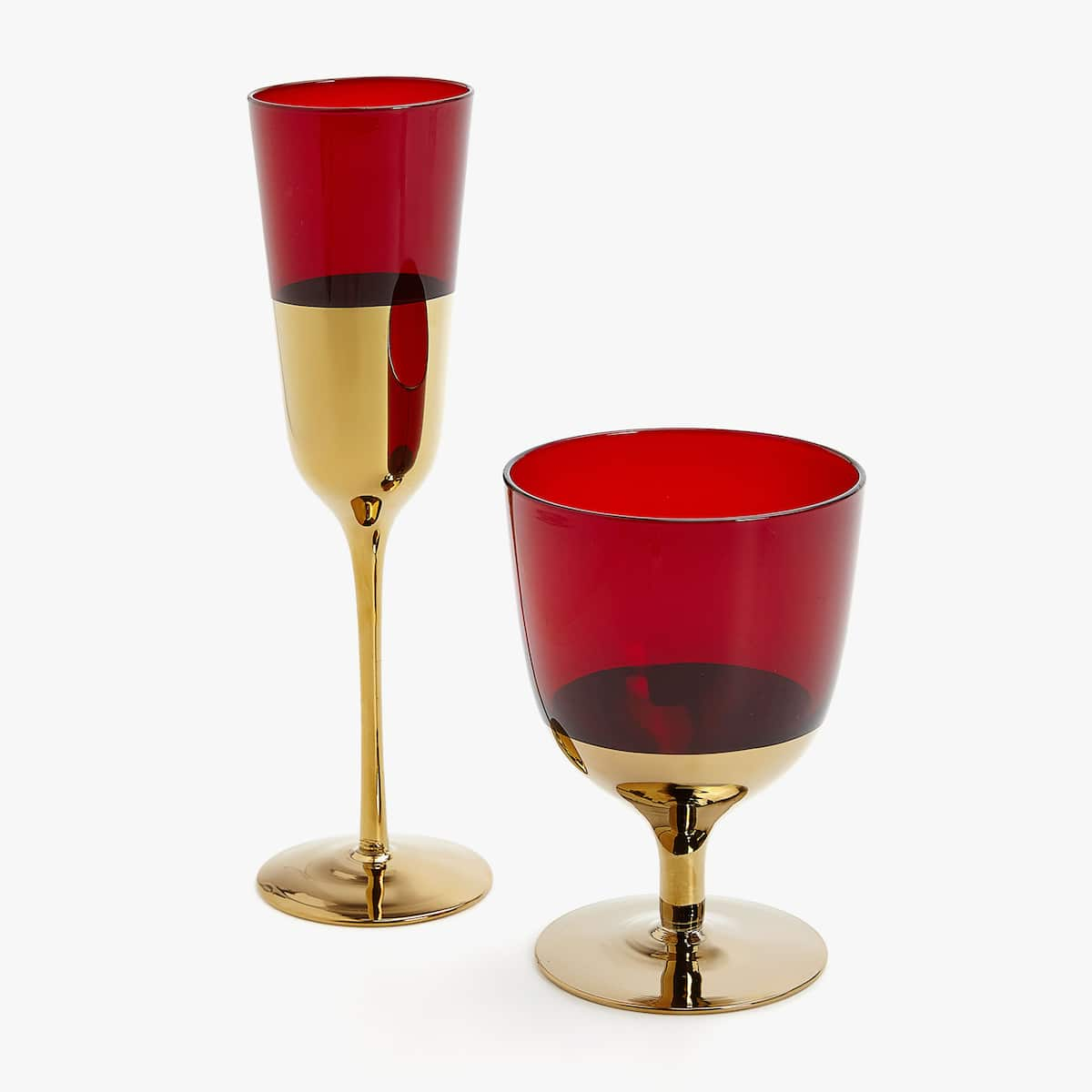 Cristaler A Roja Base Dorada Vasos Cristaler A Comedor  # Champagne Muebles Uy