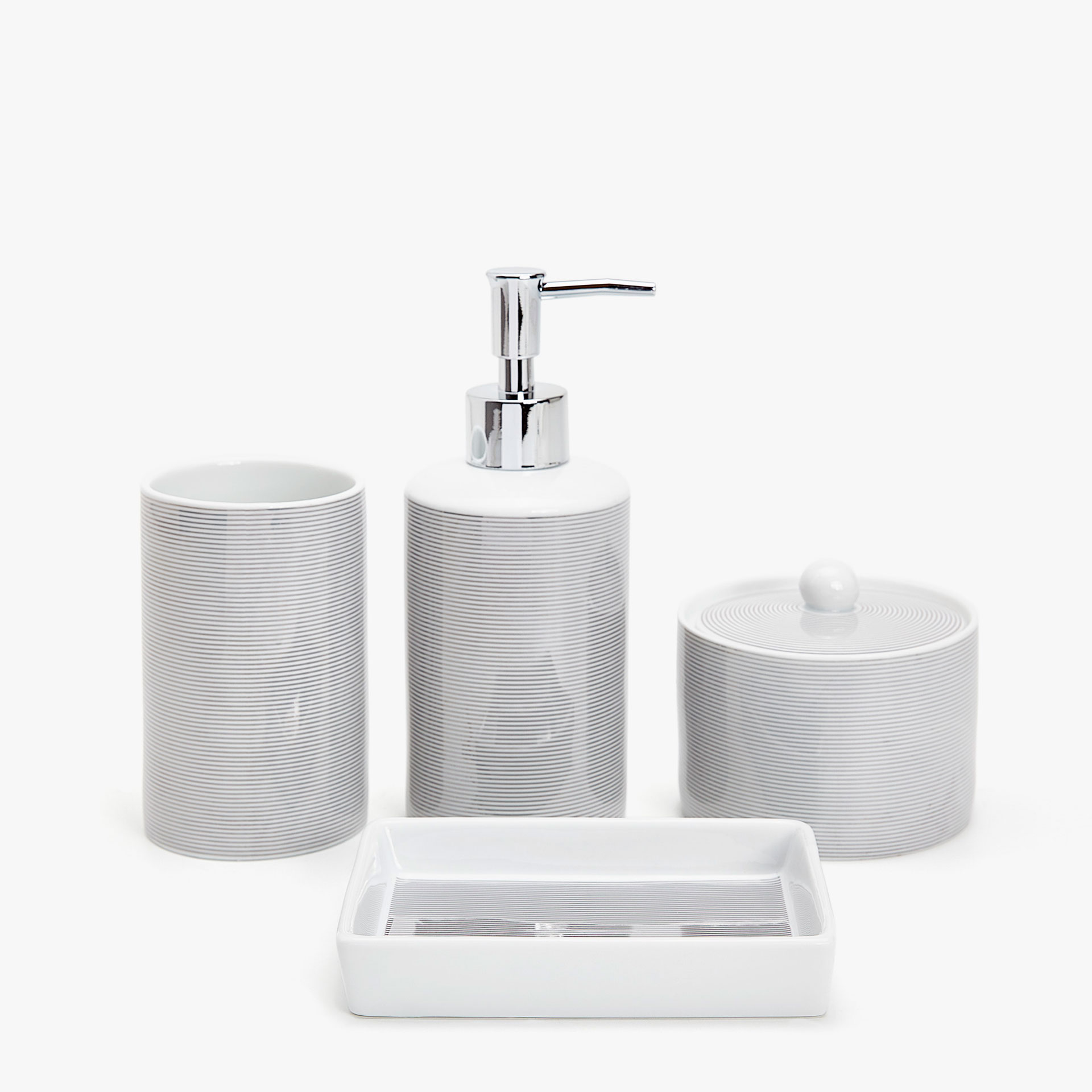 silver striped bathroom set - bath accessories - bathroom | zara