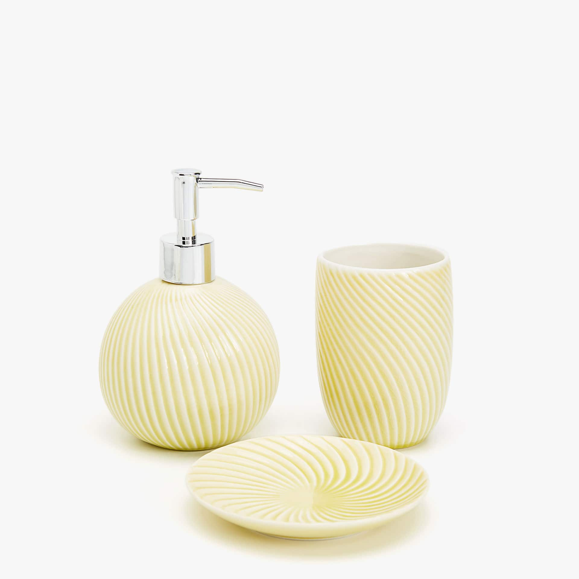 + Mustard Yellow Bathroom Set With Stripes