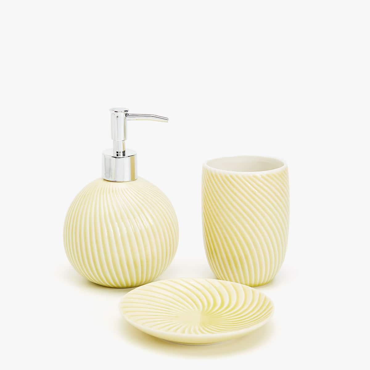 Yellow bathroom accessories home design plan for Mustard bathroom accessories uk