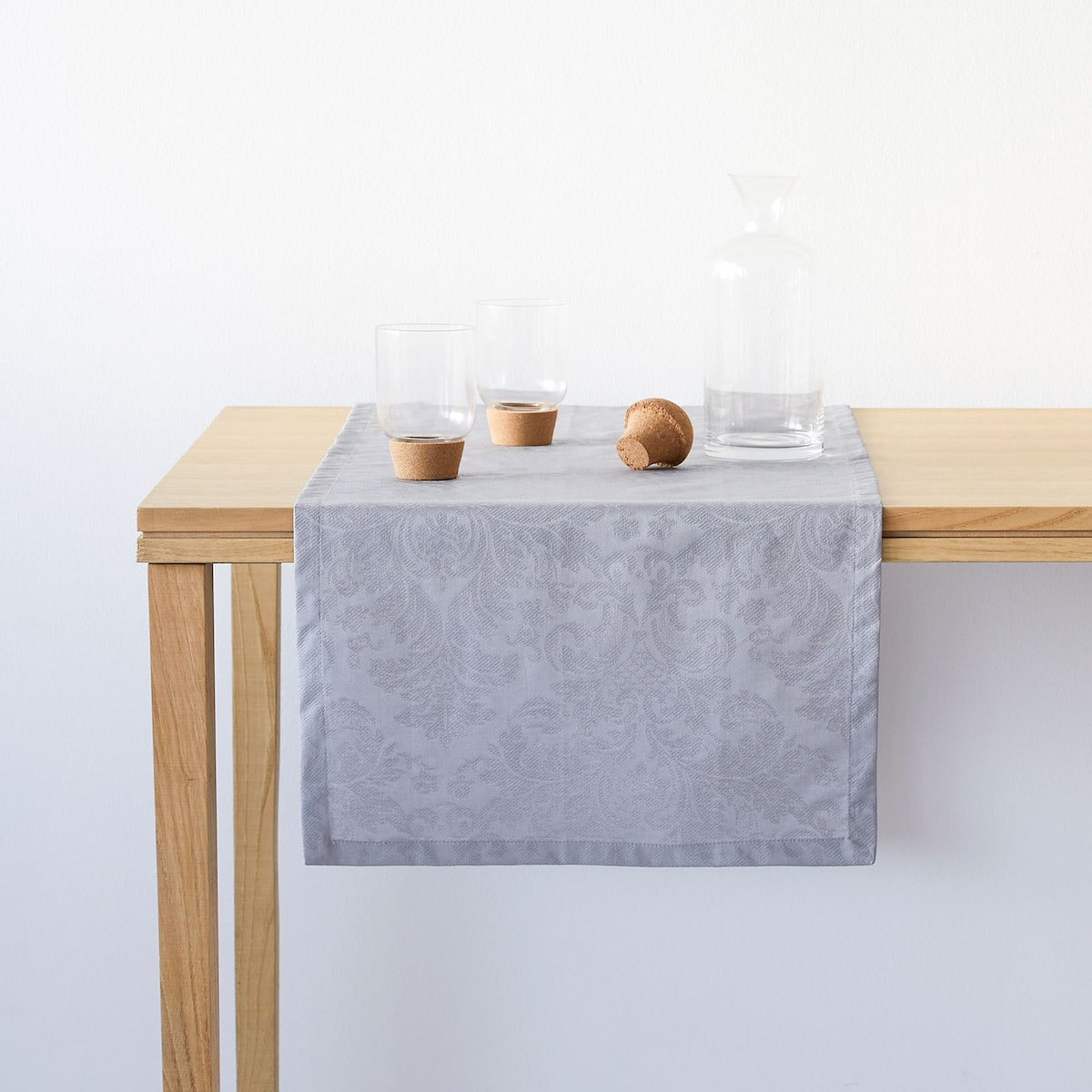 + Light Grey Laminated Jacquard Table Runner