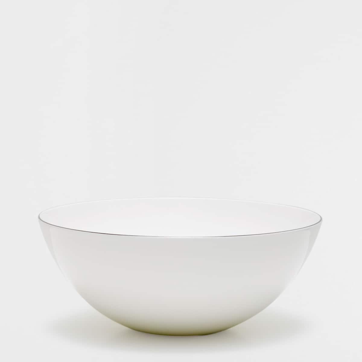 Afbeelding 1 van het product Bone china slakom met zilverkleurige rand