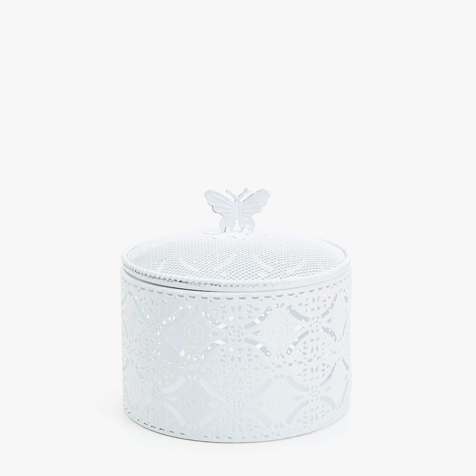 Zara WHITE TRELLIS METAL BOX WITH BUTTERFLY DETAIL 6e1455e0ae6