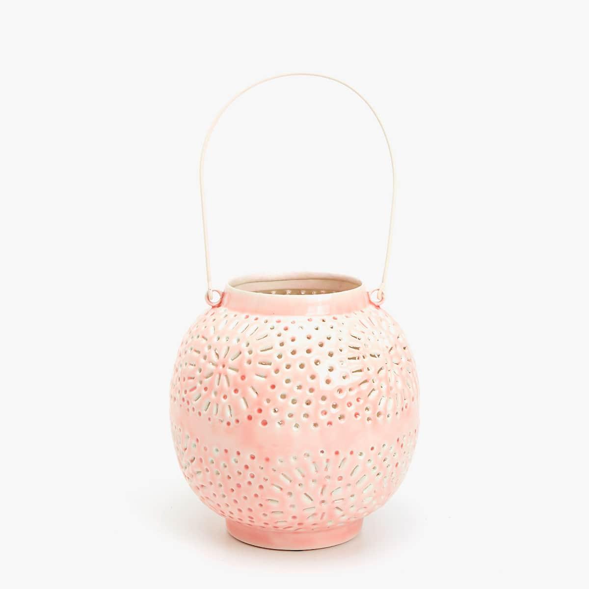 Afbeelding 1 van het product Roze geëmailleerde lantaarn