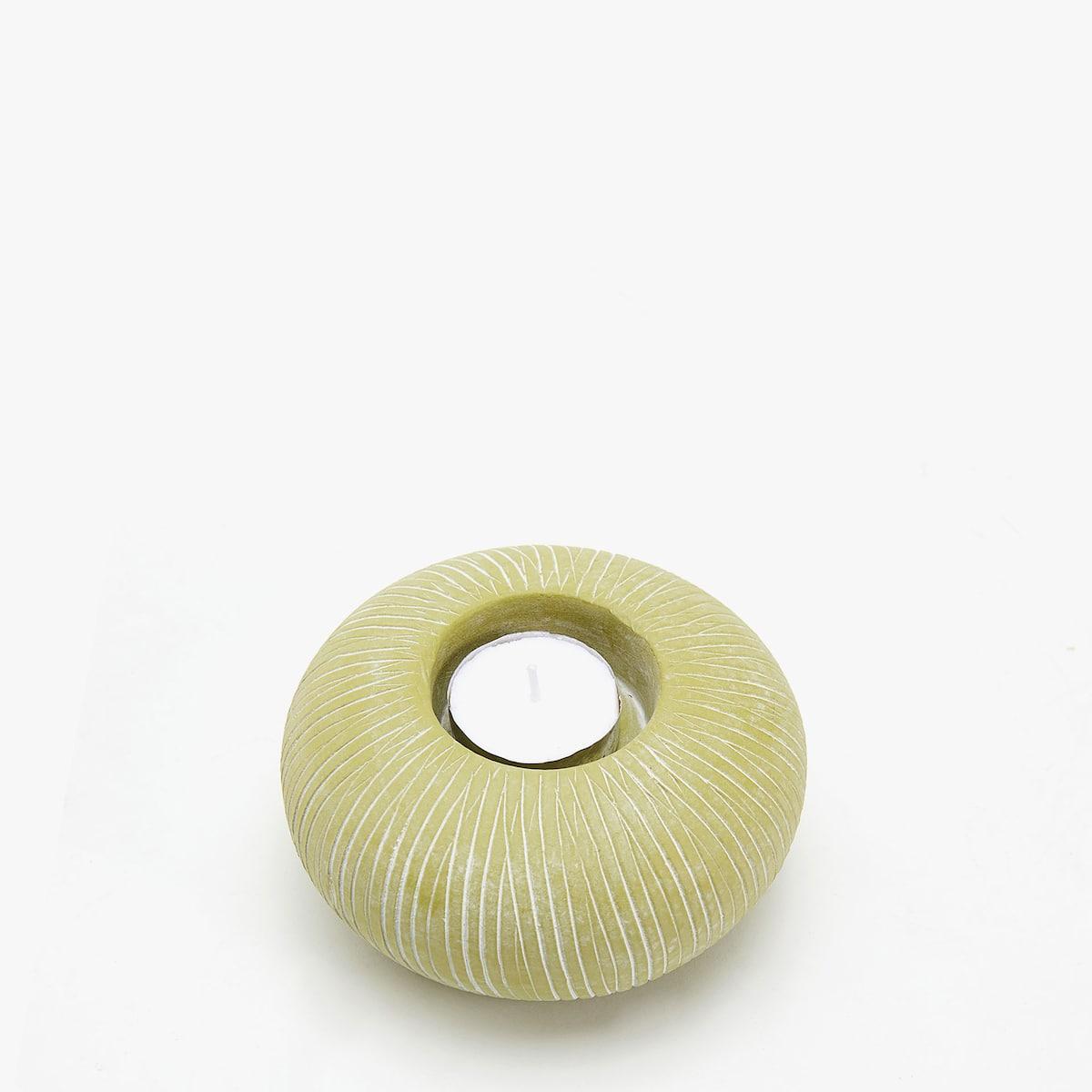 Afbeelding 2 van het product Aardewerken kaarshouder met strepen