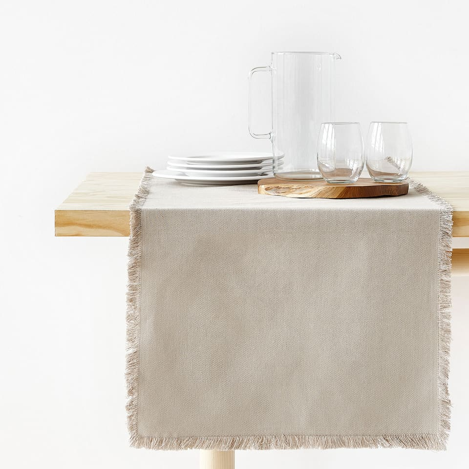 700236ca657f06 Zara FADED COTTON TABLE RUNNER WITH FRINGE