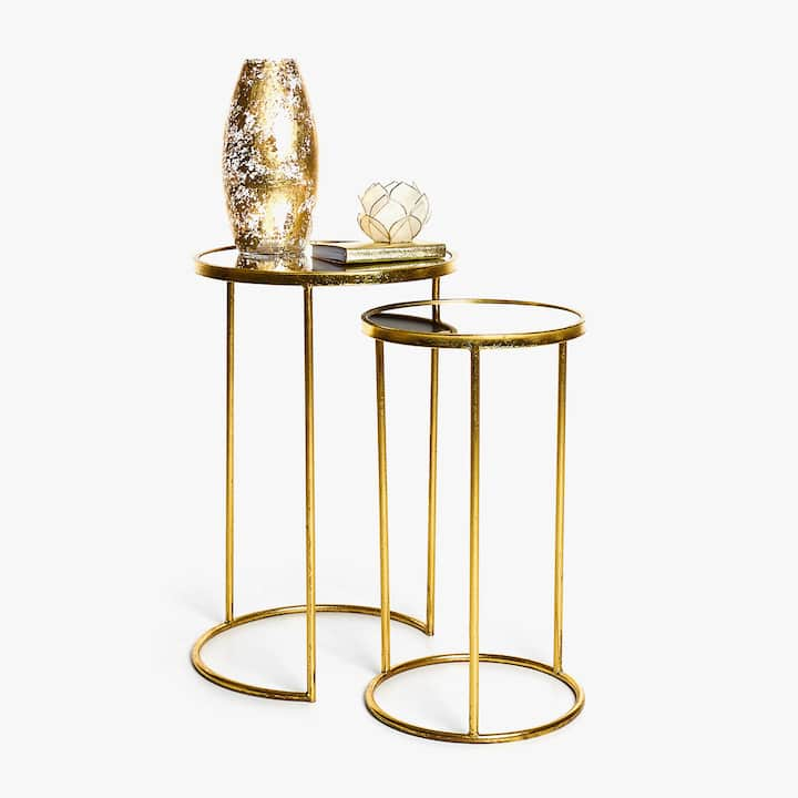 Image of the product NESTED METAL TABLES WITH MIRROR  SET OF 2. Accent Furniture   Zara Home Pre Fall Collection 2017